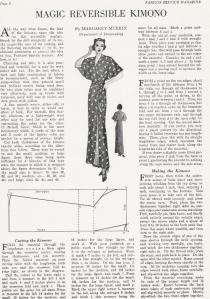 1930s Free Kimono Newspaper Pattern