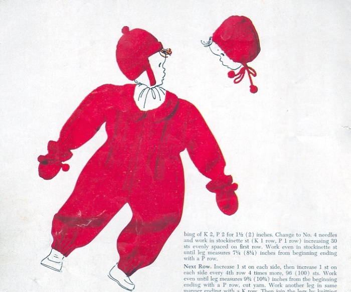 Vintage Knitted Snowsuit Cap and Mittens