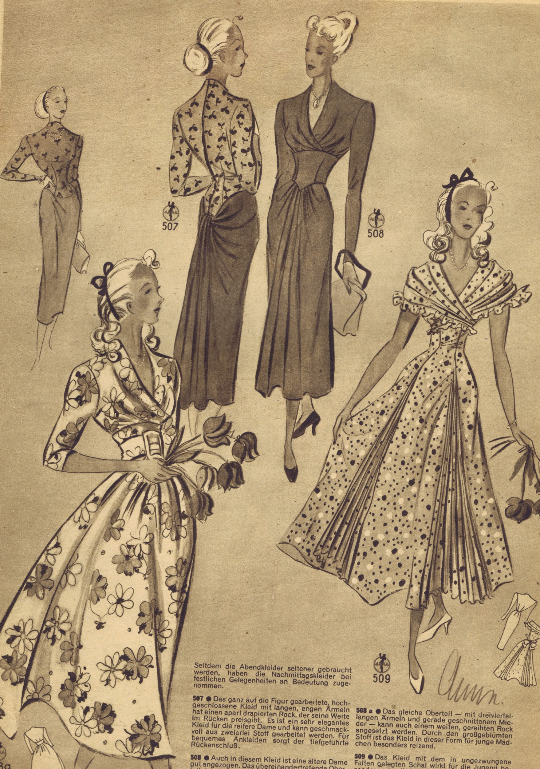 FREE Vintage 1940s Sewing Patterns | German Die Alma Mode ...