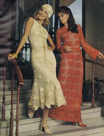 crochet vintage 1970s dress cap lace evening floor length brunswick