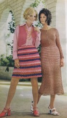 crocheted 70s skirt dress motifs