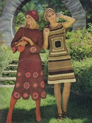 70s vintage dress beret motifs midi afghan skirt crochet vintage patterns
