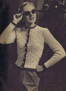 Knit Smocked Cotton Cardigan