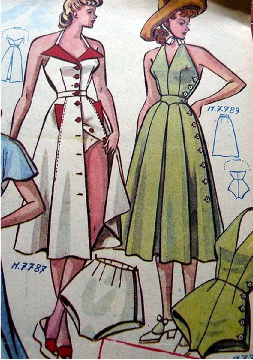 vintage pattern 1940s halter dress