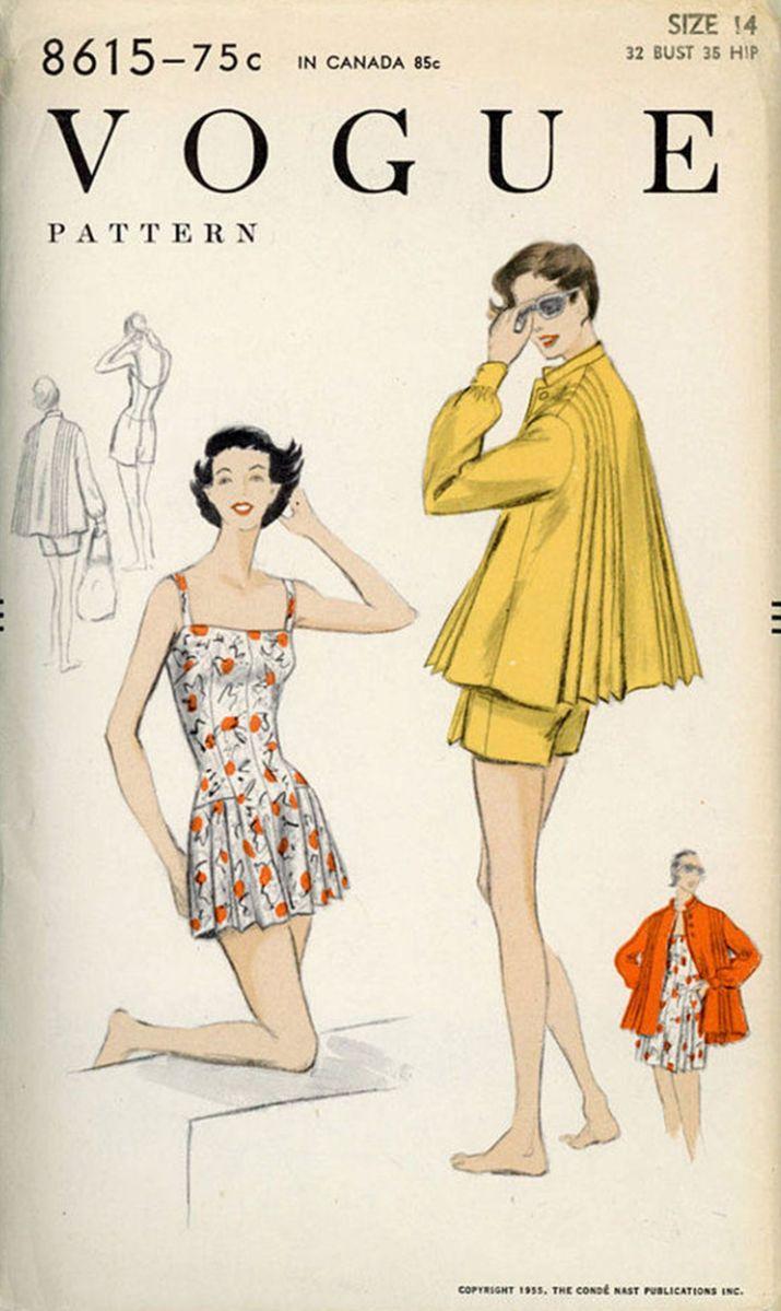 pleated swing jacket playsuit Survey pictures vintage patterns 8615 vogue