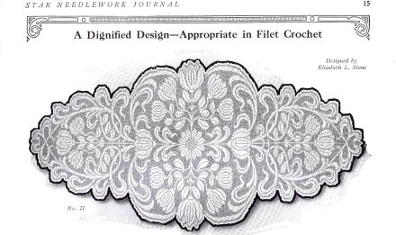 vintage crochet 20s filet scarf chart