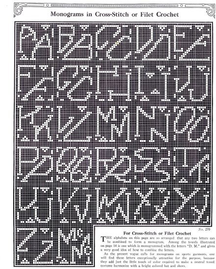 vintage cross stitich filet crochet pattern 1920s