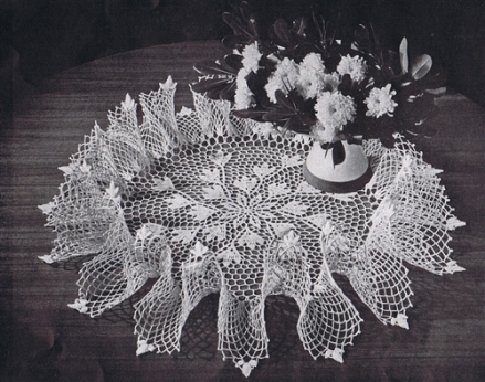 50s vintage crochet doily pattern blossom ruffle