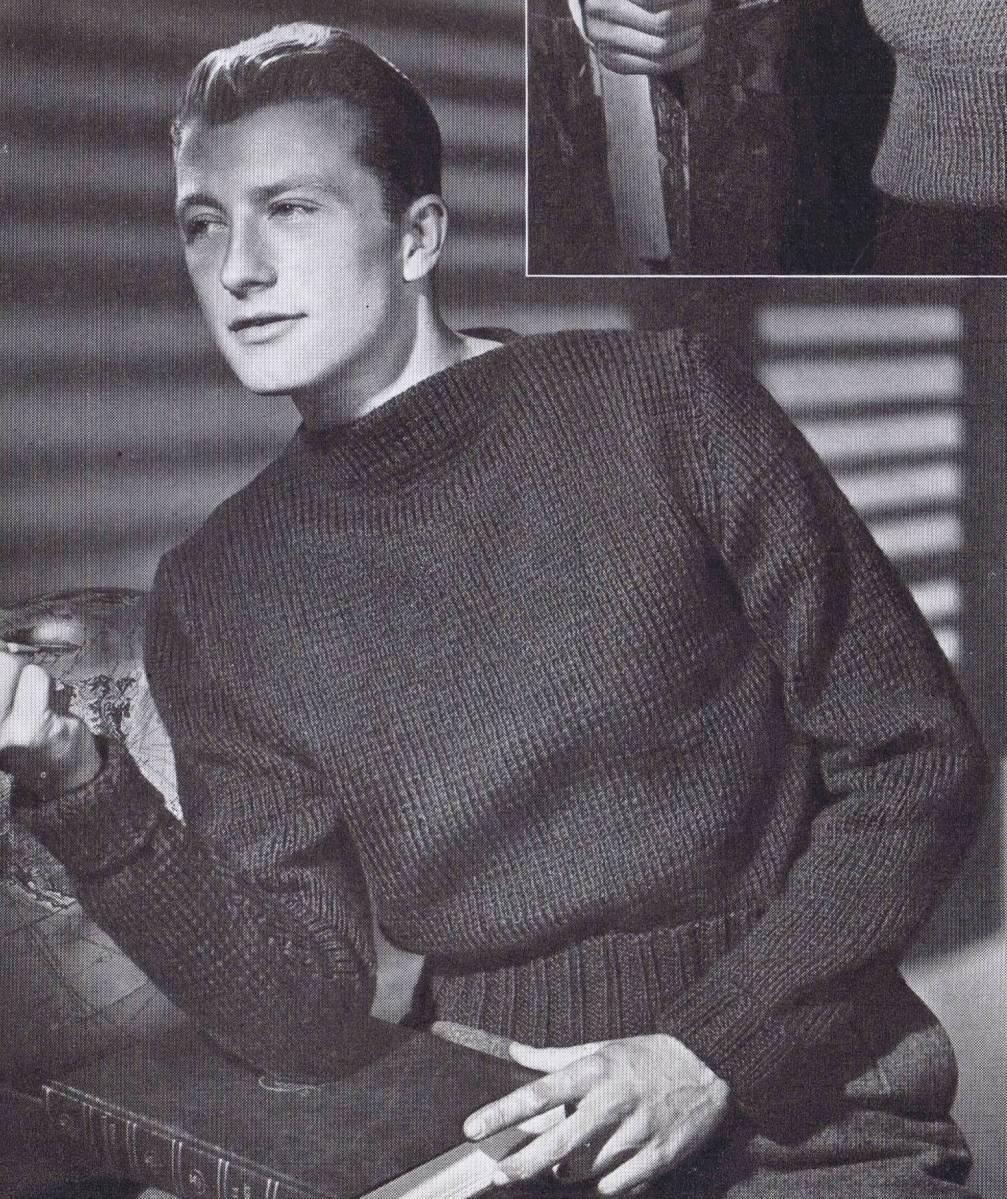 vintage pullover knitting pattern mens 1940s
