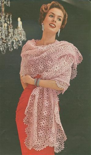 free vintage pattern stole 1950s