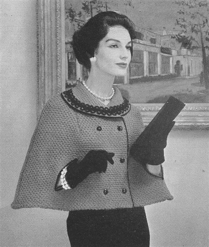 1950s Vintage Double Knitted Breasted Cape Pattern Patricia