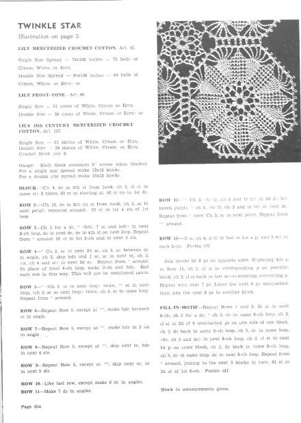 Twinkle Star Bedspread Motif Vintage crochet Pattern